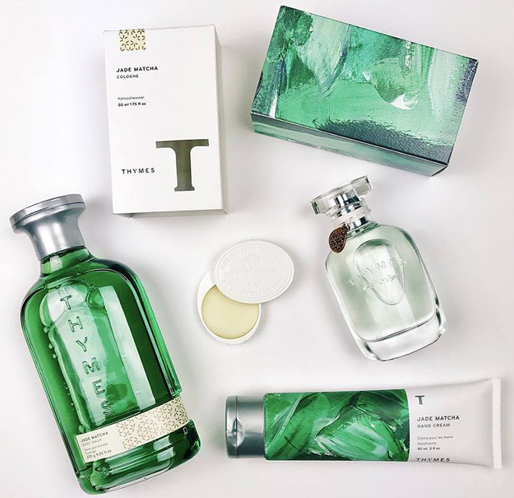 bottles and packages of Thymes soaps and lotions