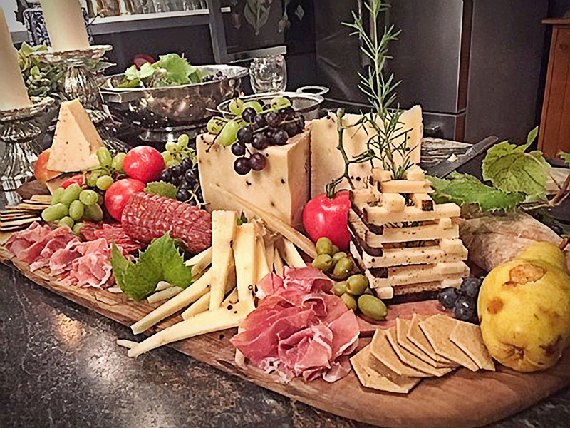 large tray of cheese and charcuterie