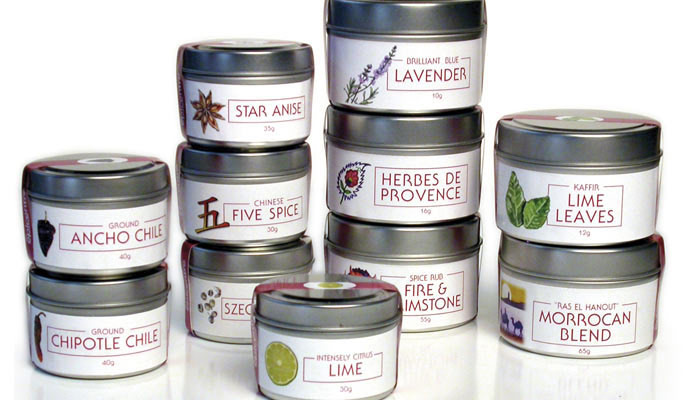 tins of spices